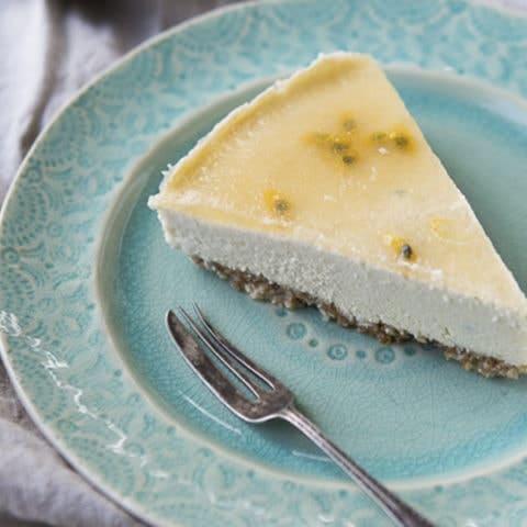 Almost Raw Vegan Passionfruit Cheesecake