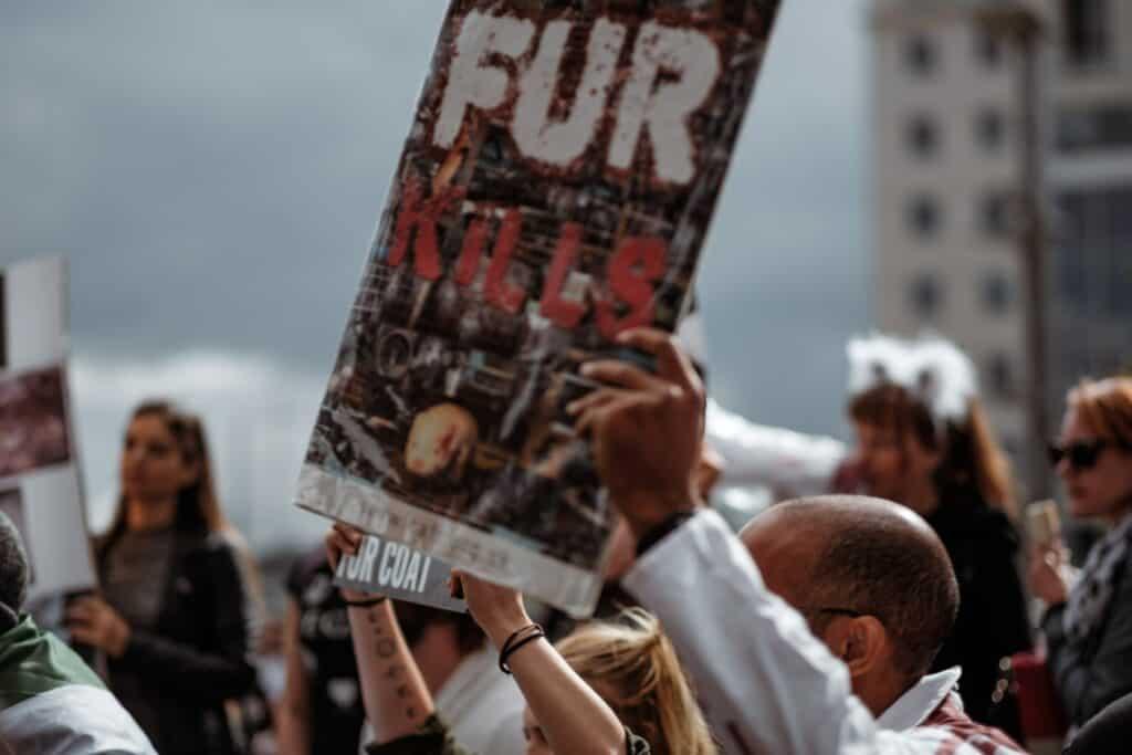 animal activists protesting - levels of veganism