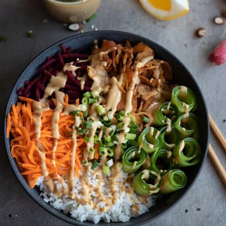 Tofu Buddha Bowl with Peanut Sauce
