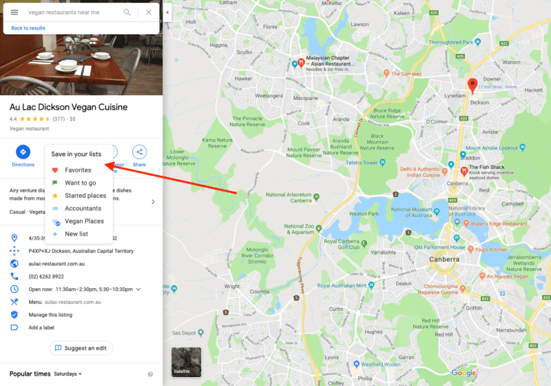 Example of saving vegan eats to your favourites list in Google Maps