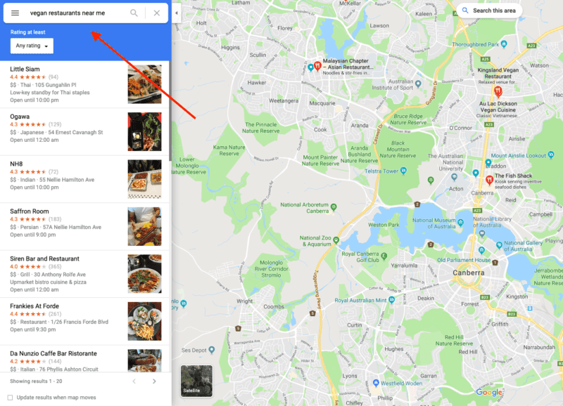 Example of searching vegan restaurants in Google Maps