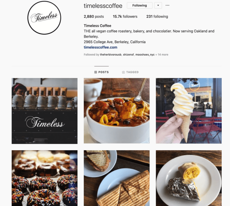 Screenshot of Timeless Cafe Instagram account. The are an all vegan cafe based in Oakland CA.