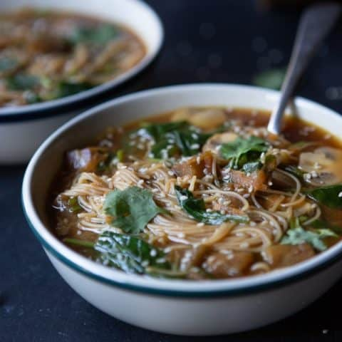 Vegan Miso Soup With Veggies & Noodles (Gluten-Free)