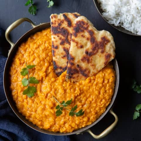Creamy Red Lentil Curry with Naan