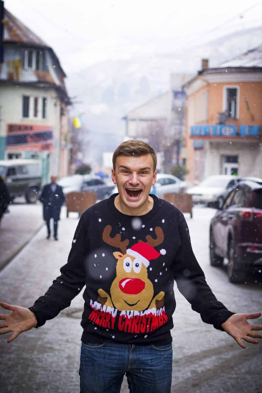 guy with christmas sweater