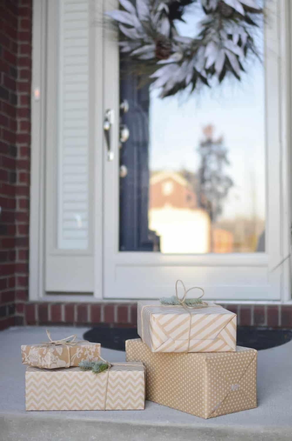 Christmas gifts at door
