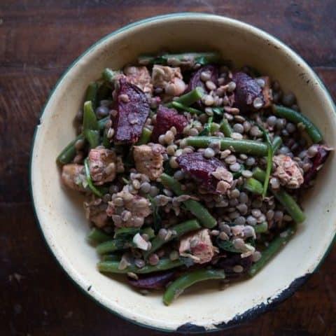 Warm Vegan Lentil Salad with Tempeh (Gluten-Free)