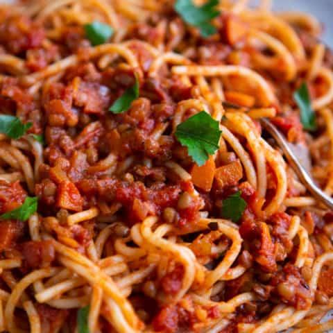 My Lentil Spaghetti Bolognese