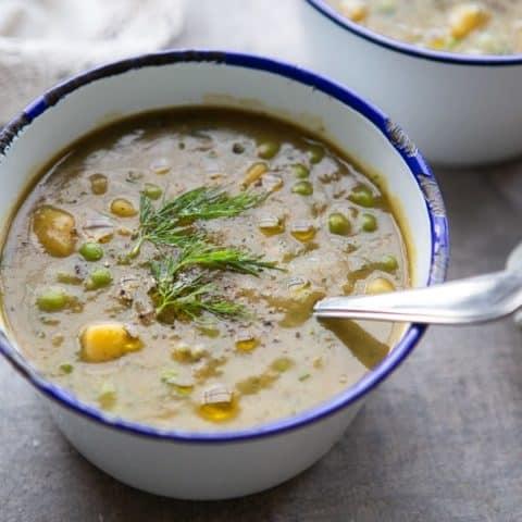 Easy Potato, Pea and Dill Soup