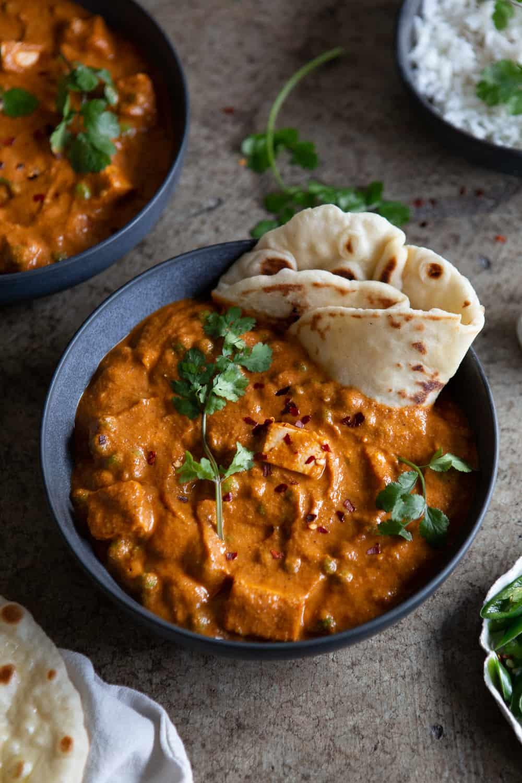 Vegan Matar Paneer served in bowl