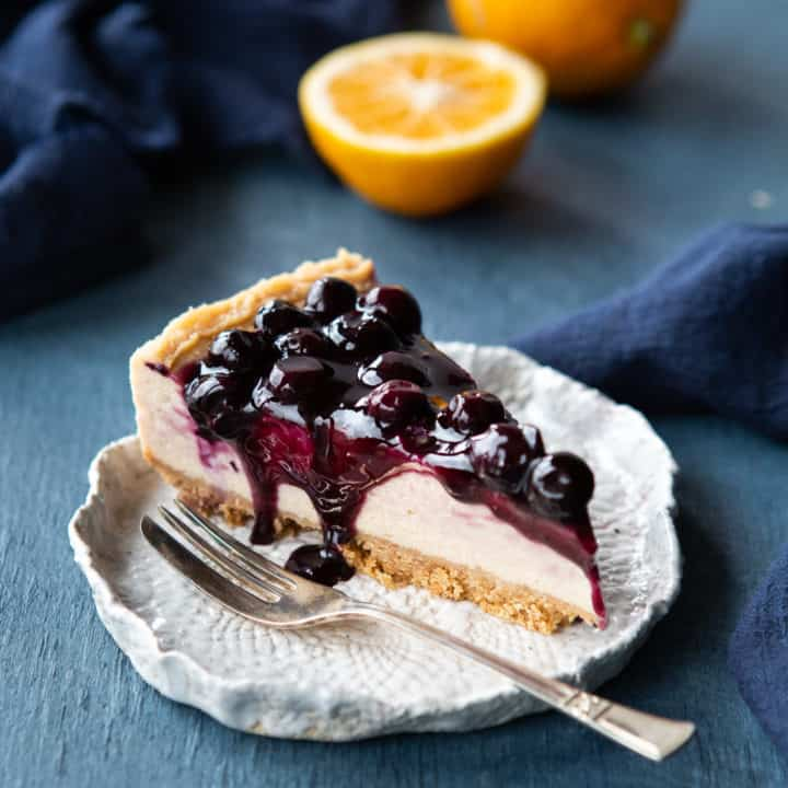 Baked Vegan Blueberry Cheesecake
