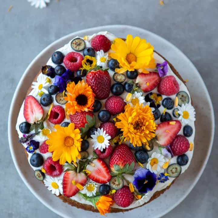 Vegan Vanilla Cake with Coconut Cream and Berries