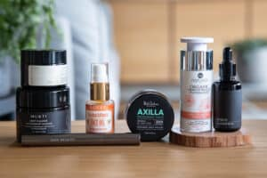 some of our favourite vegan beauty brands on a table