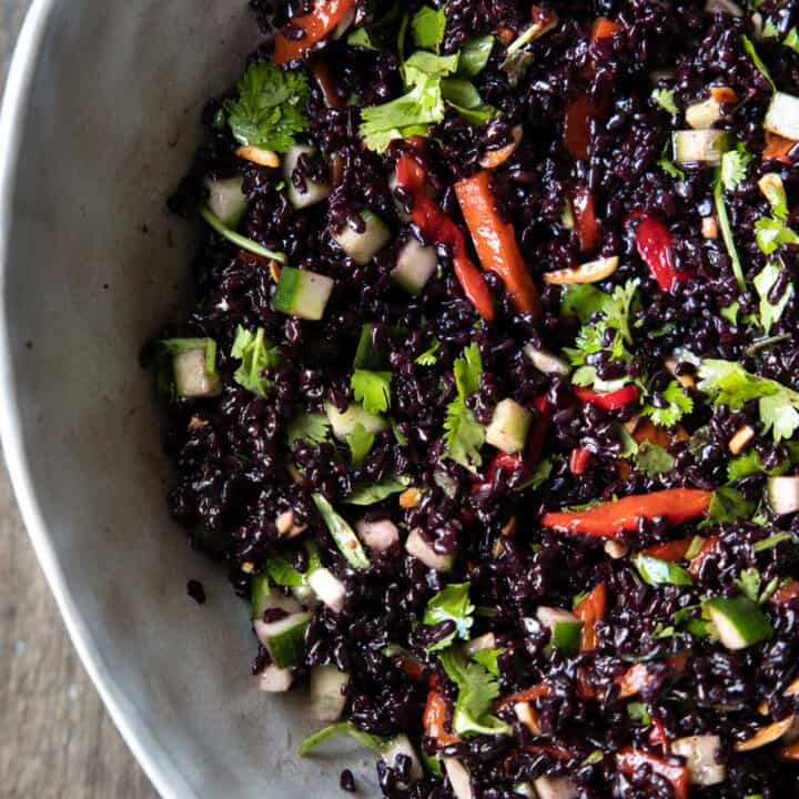 Black Rice Salad with Spicy Toasted Sesame Dressing