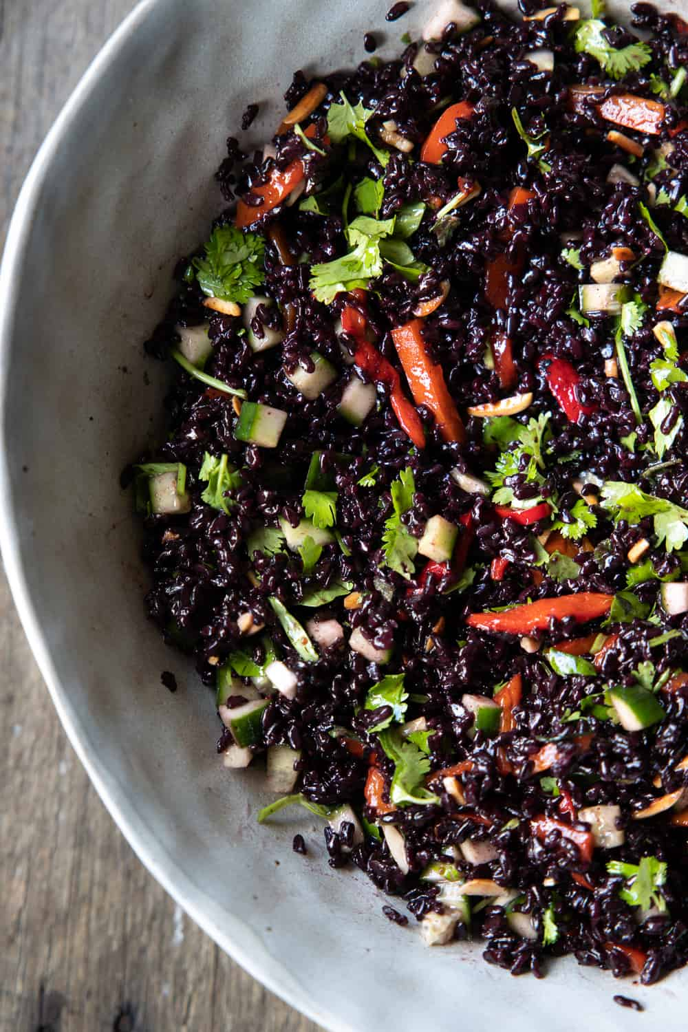 Close up of the black rice salad from above