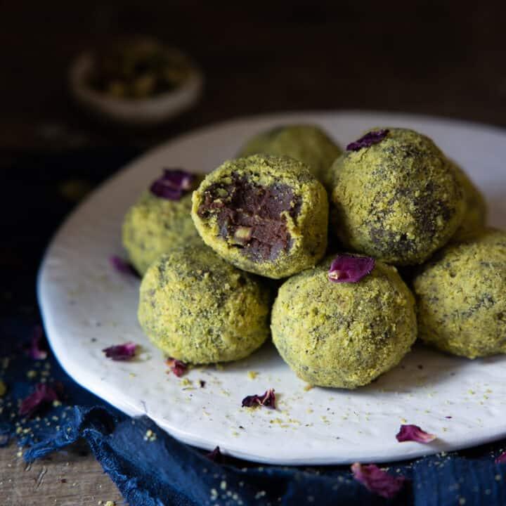 Vegan Rose & Pistachio Truffles