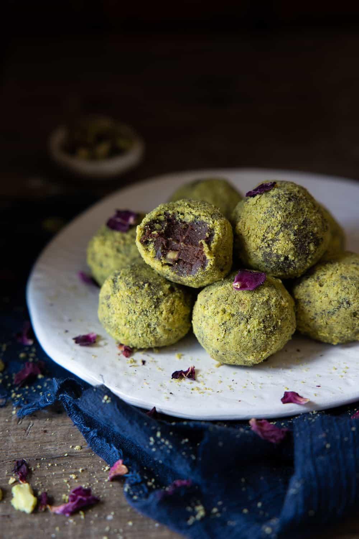 Close up of Vegan Rose & Pistachio Truffles